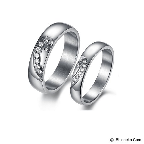TITANIUM RING Cincin Couple Size 7(F) & 8(M) [GS208] - Silver & Silver - Cincin